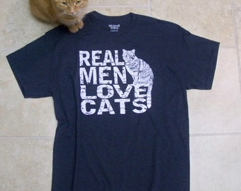 Mens Funny t shirt, Real Men Love Cats, Christms gift, cat shirt, boyfriend gift, heather 50/50 blend, dad tshirt, cat man, RCTees original