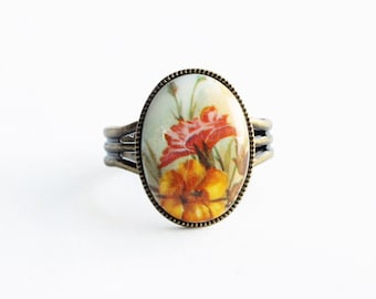 Floral Cameo Ring Vintage Glass Flower Limoge Ring Adjustable Victorian Jewelry Yellow Peach Floral Ring Antique Brass