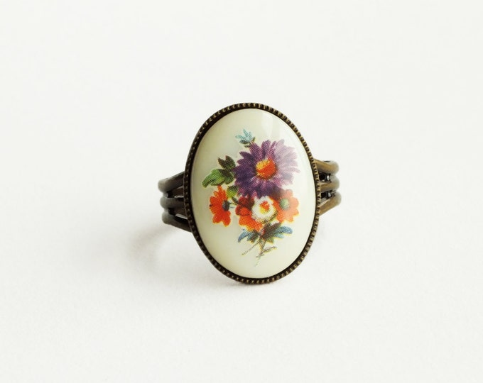Purple Flower Ring Vintage Glass Cameo Ring Adjustable Purple Orange Floral Jewelry Victorian