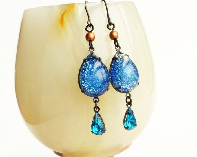 Blue Aquamarine Opal Earrings Aqua Blue Opal Jewelry Victorian Copper Blue Dangle Earrings Aquamarine Jewelry