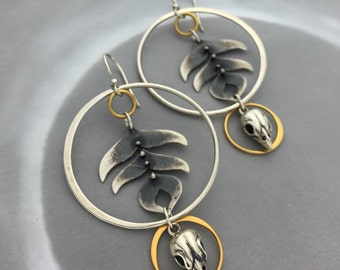 Rustic Peacock Feather Hoop Earrings with Sparrow Skulls and 24k Gold Plate Circles