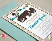 Reserved for Ericka · 55 A6 Flat Animal Safari Baby Shower Invitations