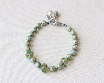 Green Hand Knotted Bracelet, Czech glass beaded bracelet, spring colors, stacking bracelet