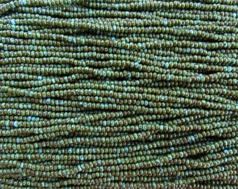 8/0 Opaque Green Turquoise Picasso Czech Glass Seed Beads - 20 Inch Strand (CW7)