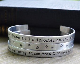 Tom Waits Cuff Bracelet Set (3) - Modern - Looks Like Silver - Music -  Lyrics -  Stars - Moons - Celestial - Romantic - Rustic -Under 50