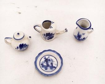 Vintage Enesco miniature plate teapot vase watering can set