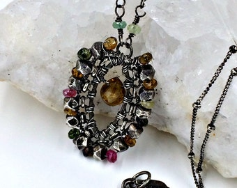 Tourmaline Bohemian Necklace Wire Wrap Boho Chic Necklace Tourmaline Gemstone Oxidized Silver Wire Coiled Andalusite Romantic Bohemian Style