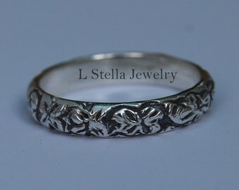 Sterling Flower Band Half Round Carved flowers leaves all around Vintage look
