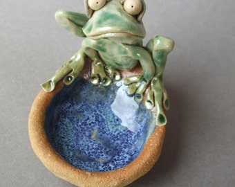 Whimsical Ceramic Frog Dish Sculpture