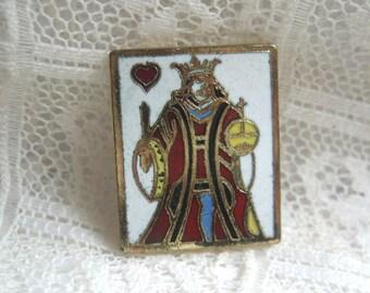 Enamel King Playing Card Button
