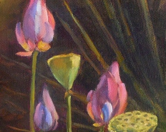 Lotus Buds, 6x8 Original Oil Painting on Canvas Panel, Floral Daily painting