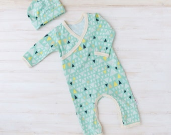 Kimono Style Baby Romper - Gender Neutral Baby Outfit - Baby Going Home Set - Baby Going Home Outfit - Kimono Romper and Hat Set
