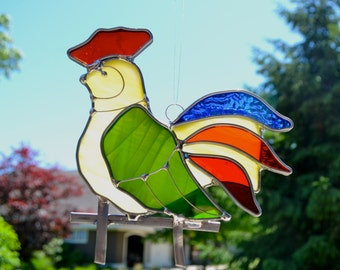 Rooster Stained Glass Suncatcher Rainbow