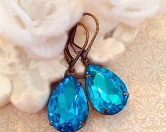 Victorian Jewelry - Victorian Earrings - Vivid Turquoise Earrings - Bridesmaid Gifts - Spring Wedding Earrings - CAMBRIDGE Turquoise
