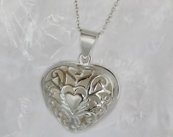 Heart  Locket, Lace Sterling Silver Large Locket