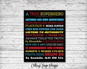 Girls Superhero Sign, A True Superhero Inside All Of Us for Girls, INSTANT DOWNLOAD, Girls Superhero Poster, Girls Superhero Party