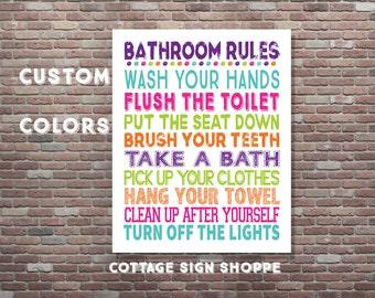 Bathroom Rules, Kids Bathroom Rules, Custom Bathroom Rules, DIY PRINTABLE, YOU Print, Custom Colors, Boys and Girls Bathroom Rules