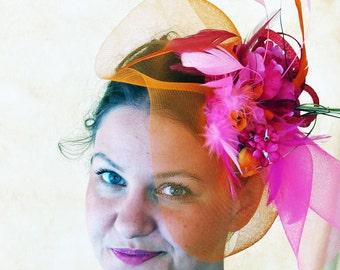 Orange Fascinator Fuchsia Hot pink fascinator wedding hat  magenta hat ONLY YOU