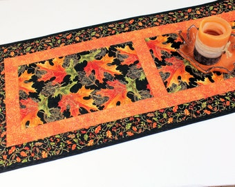 Autumn Leaves Quilted Fall Table Runner, Orange, Green and Black Table Runner Quilt, Fall Quilt, Quiltsy Handmade