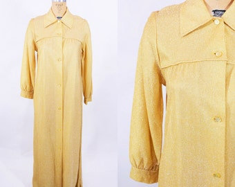 1970s metallic dress | gold button down maxi kahftan dress | vintage 70s dress | W 39""
