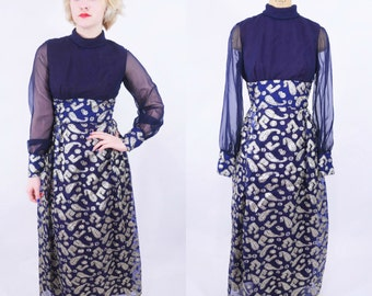 1960s dress vintage 60s navy blue metallic paisley motif sheer sleeves maxi dress M W 28""