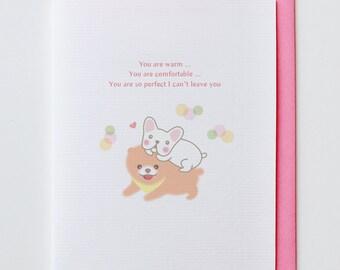 Warm Shiba - Chiwawa, Boo, Frendship Card, Anniversary Card, Valentine Card, I Love You Card, Funny, Unique, Cute, Kawaii, Dog, Animal Card