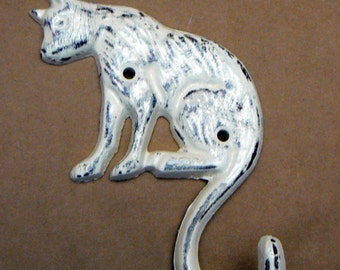 Cat Hook Cast Iron Shabby Chic Off White Kitty Feline Home Decor