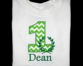 Custom Personalized Applique Birthday Number with LAUREL WREATH and NAME Shirt or Bodysuit - Lime Green Chevron Stripe and Kelly Green
