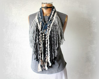 Mori Girl Scarf Tribal Style Fringed Necklace Upcycled Jeans Rustic Boho Scarf Hippie Jewelry Long Necklace Art To Wear Eco Friendly 'JUNI'