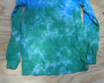 Kelp Forest Fade Scrunch Long Sleeve Tie Dye T-Shirt (Gildan Heavy Cotton Size S) (One of a Kind)