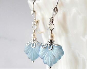 Blue Bridesmaid Earrings Wedding Jewelry Beaded Earrings Ice Blue Bridesmaid Jewelry Leaf Dangle Earrings Winter Weddings Gifts Under 20