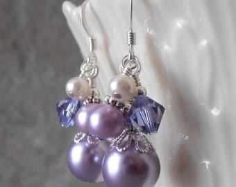 Lavender Bridesmaid Earrings Purple Pearl Cluster Earings Spring Wedding Jewelry Sterling Silver Earwires  Handmade Pearl Bridesmaid Jewelry