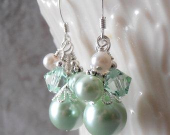 Mint Green Dangle Earrings Pearl Cluster Bridesmaid Jewelry Beaded Bridesmaid Earrings  Spring Weddings Pastel Jewelry Set Mint Pearl Earing