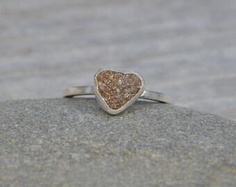 Rough Diamond Engagement Ring, Raw Diamond Ring, 1.20ct Rough Diamond Ring, Heart Shape Diamond Ring, Handmade In England