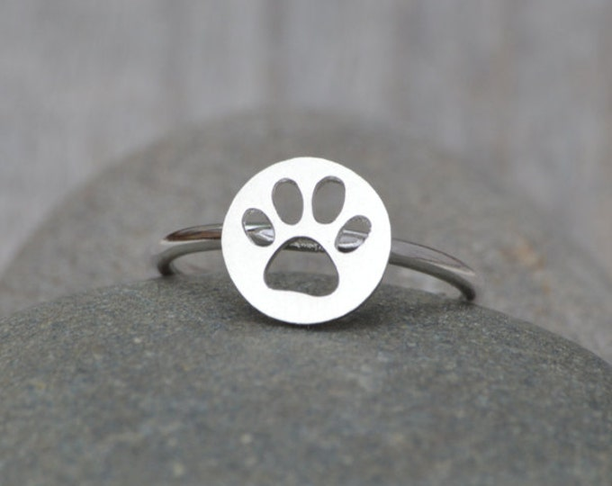 Pawprint Ring In Sterling Silver, Stackable Animal Ring
