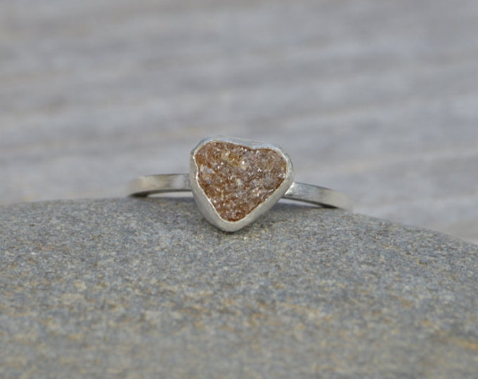 Rough Diamond Engagement Ring, Raw Diamond Ring, 1.20ct Rough Diamond Ring, Heart Shape Diamond Ring, Handmade In England