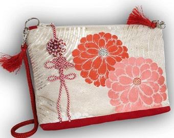 Japanese Vintage Kimono Obi 2-Way Shoulder Bag -  Chrysanthemum / Tomato Red, Salmon  Pink