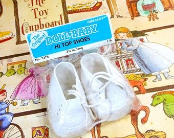 1984 | Vintage Doll Baby Shoes |  Hi Tops |  White Doll Shoes | Cabbage Patch Shoes | New In Package | Vinyl Doll Shoes | Cloth Shoe Laces