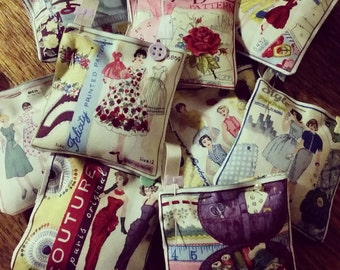 Vintage Fashion & Sewing Themed Lavender Sachets