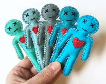 Voodoo Dolls - creepy cute mini voodoo dolls - gag gift voodoo plushie - hand sewn juju doll - mojo booster - party favors - shades of blue