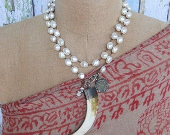 PEARLS and TUSK NECKLACE, yoga, tribal, boho