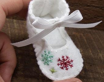 Baby's First Christmas Felt Shoe Ornament