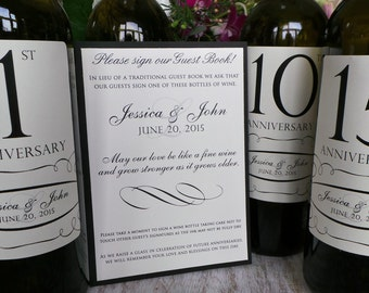 Guest Book Anniversary Wine Labels 4-6 labels, 1 instructional sign..choose your colors and numbers.... Traditional