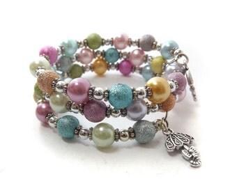 "Wrap Around Girls Bracelet, Childrens jewellery,  ""Morning Dew"" Memory wire  Bracelet, teens bracelet, pastel tones glass pearls SRAJD UK"