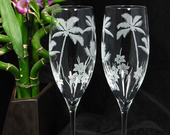 2 Tropical Beach Wedding Champagne Flutes, Palm Tree Wedding Decor