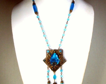 Turquoise Glass and Gold 1930s Necklace, Czech Glass Linked Faceted Beads and Dangles, Very Ornate Oxidized Filigree Gold Fobs and Chain