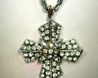 LISNER Signed Rhinestone Iron Cross Pendant, White Rhinestone Pendant on Silver Chain, Original Tag, 1960s, Stunning Flashy Glam Crusader