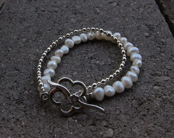 Freshwater Pearls and Sterling Bead Double Wrap Bracelet