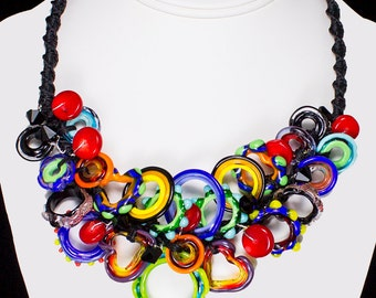 Crayon Brights Explosion Necklace, Handmade Glass Jewelry