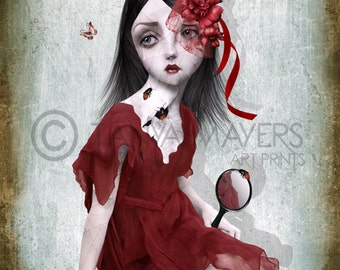 Lowbrow Art Print - Big Eyed Girl Art - Porcelain